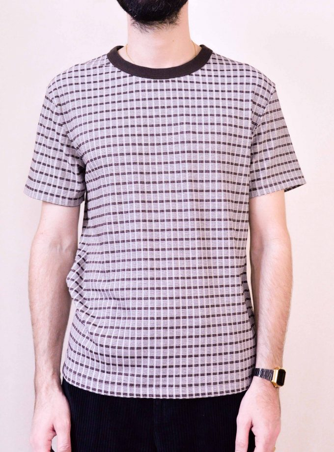 Perfect tee check rib brown beige our legacy